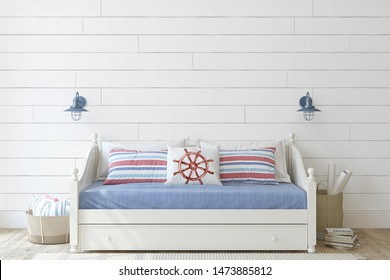 Kids room in coastal style. Daybed near shiplap wall. Interior mockup. 3d render.