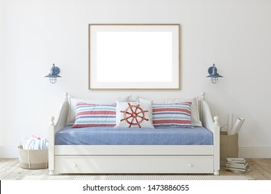Kids room in coastal style. Daybed near white wall. Wooden frame on the wall. 3d render.