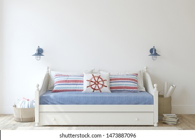 Kids room in coastal style. Daybed near empty white wall. Interior mockup. 3d render.