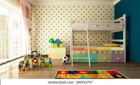 Kids room design and 3D rendering