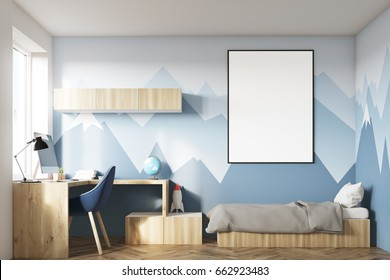 Kids room interior with a poster hanging above a bed, bookshelves and a blue chair. Mountain wallpaper. 3d rendering mock up