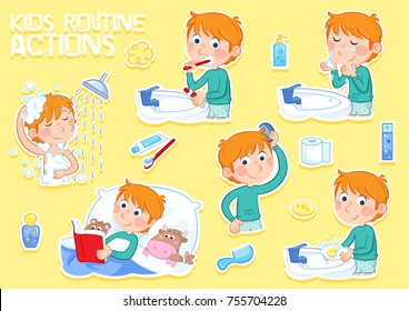 Kids routine actions - Little boy with ginger hair and his daily routine