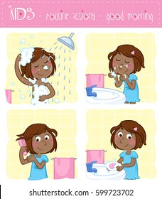 Kids - routine actions -  washing hands, washing face, taking a shower, hair care - girl with brown hair