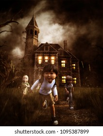 kids running away from a haunted house,3d illustration