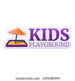 Kids sandbox umbrella logo. Cartoon of kids sandbox umbrella logo for web design isolated on white background