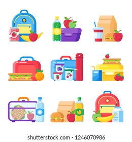 Kids school lunch box. Schoolkid meal bag for dinner. Red apple, milk child hamburger fresh snack dinners meal in children food boxes and plastic sandwich bag flat icon colorful  isolated set