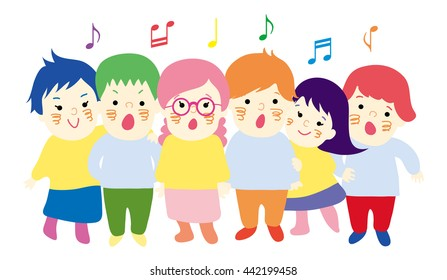 Kids singing together