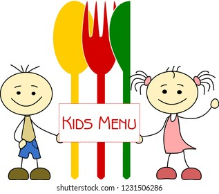 Kids with spoon, knife and fork for Kids Menu