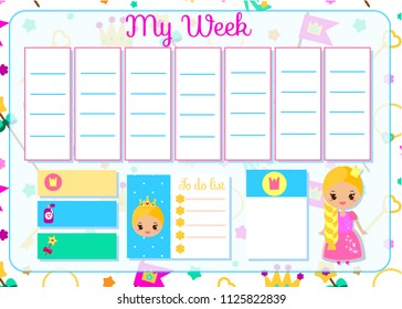 Kids Timetable Cute Fairy Character Weekly Stock Illustration ...