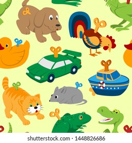 Kids toys clockwork key mechanism mechanic cartoon animals in toyshop for child clock work car and boat in playroom illustration seamless pattern background