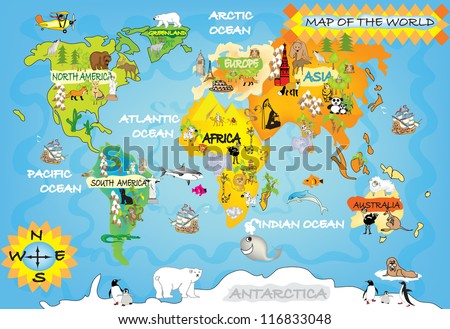 Kids World Map Stockillustration 116833048 – Shutterstock