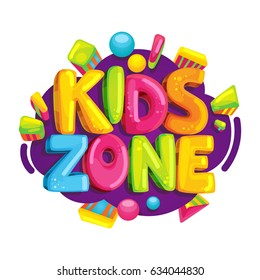 Kids zone cartoon logo. Colorful bubble letters for children's playroom decoration. Inscription on isolated background