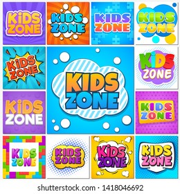 Kids zone. Children game playground banners and cute labels with cartoon lettering. School children park area background set