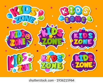 Kids zone logo. Colored emblem for game children room playing zone decor style labels