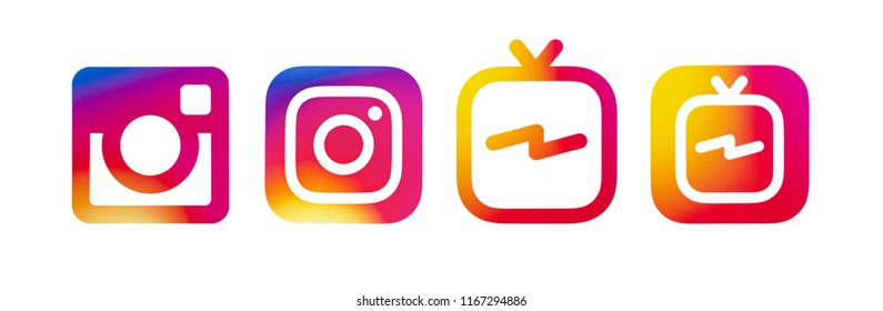 Kiev, Ukraine - August 24, 2018: This is a photo set of most popular social media logos printed on paper: Instagram icon and Instagram IGTV icon.