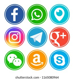 Kiev, Ukraine - July 15, 2018: Set of most popular social media icons: Facebook, Periscope, Instagram, Telegram, Google Plus, Amazon, WeChat, Skype, WhatsApp printed on paper.