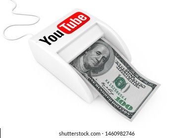 KIEV, UKRAINE - May, 17: Make Money with YouTube Concept. Money Maker YouTube Machine with Dollars Banknote on a white background. 3d Rendering