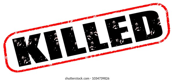 killed vintage stamp isolated on white background