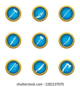 Killing tool icons set. Flat set of 9 killing tool icons for web isolated on white background