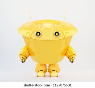 Kilo bot, futuristic robot with tubby body, 3d illustration