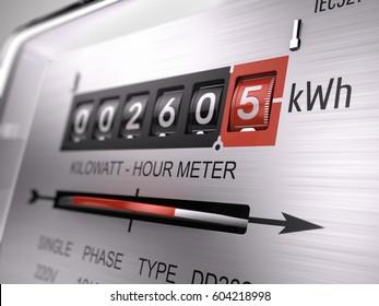 Kilowatt hour electric meter, power supply meter - closeup view. 3d rendering.