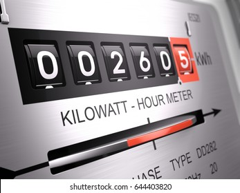 Kilowatt hour electric meter, power supply meter - closeup view. 3d rendering
