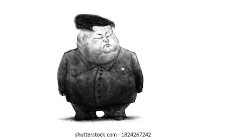 Kim Jong Un frown caricature