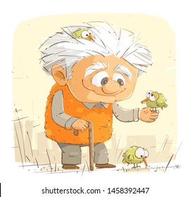 Kind Grandfather Feeding The Birds