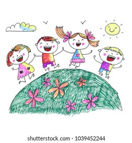 Kindegraten and school children. Kids drawing. Happy cartoon childen play and study. Colorul illustration. Imagination and exploration.