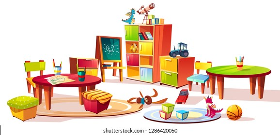Kindergarten interior furniture illustration of preschool kid room drawers for toys, table with pencils for drawing and soft chairs for children game isolated on white cartoon background