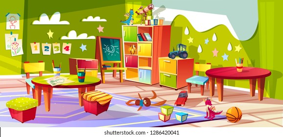 Kindergarten or kid room interior illustration. Empty cartoon background with child toys, tables or soft chairs and drawer boxes or pencils for drawing and painting