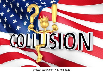 The King Of America Sitting On Collusion The Original 3D Character Illustration