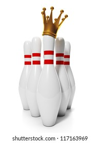 King of Bowling. Group of bowling pins and a golden crown on the same pins