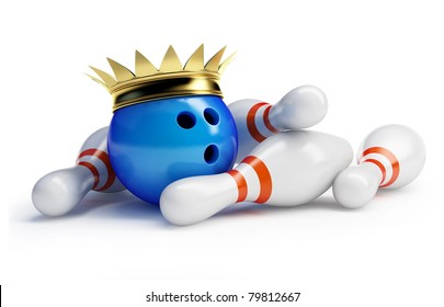 king bowling  on white background