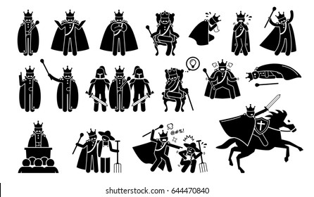 King Characters in Pictogram Set. Artworks depicts a medieval king in different poses, emotions, feelings, and actions. The emperor is wearing a crown or throne and is a great ruler.