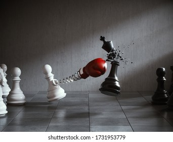 The king chess fight with The pawn chess, Concepts of leadership and business strategy, 3d illustration.