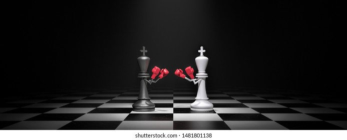 King Chess figures are boxing, business concept 3d render 3d illustration