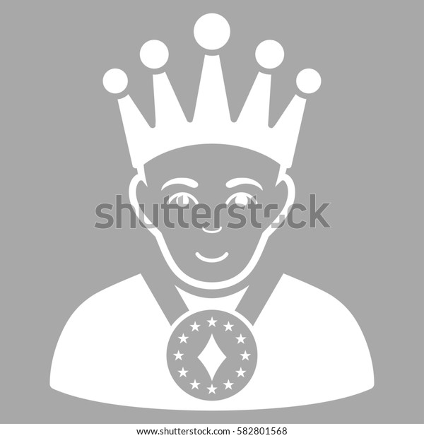 King glyph icon. Flat white symbol. Pictogram is isolated on a silver background. Designed for web and software interfaces.