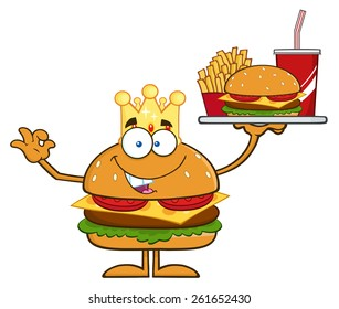 King Hamburger Cartoon Character Holding A Platter With Burger, French Fries And A Soda. Raster Illustration Isolated On White