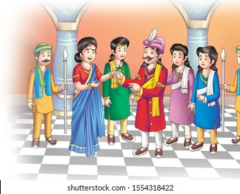 king with his courtier and a man & woman cartoon image