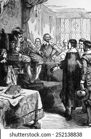 King James I (1566-1625), ruled England 1603-1625. Puritans conferring with King James I.