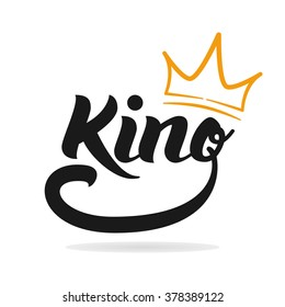 King logo template. King icon. Word of the king and the crown. Logo design. Hand lettering. T-shirt graphics