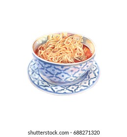 King noodle soup. Asian food. Watercolor illustration.