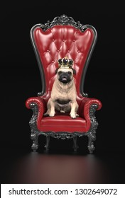 King of pug dogs sitting in throne with crown 3d illustration