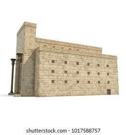 King Solomon's temple Beit HaMikdash in hebrew name on white. 3D illustration