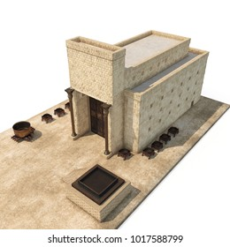 King Solomon's temple Beit HaMikdash in hebrew name with large basin call Brazen Sea and bronze altar on white. 3D illustration