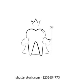 king, tooth icon. Element of dantist for mobile concept and web apps illustration. Hand drawn icon for website design and development, app development