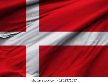Kingdom of Denmark flag blowing in the wind. Background texture. Copenhagen. 3d Illustration. 3d Render.
