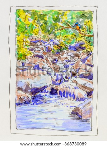 kingfisher-perched-by-rocky-stream-450w-
