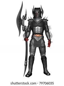 Kings Guard or Renegade Knight in full suit of armor. Bloody hands from battle Standing tall holding battle axe. Isolated illustration clean white background.